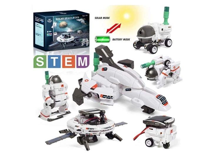 Lehoo Castle Space Toys for Kids, 6 in 1 Solar Robot Kit